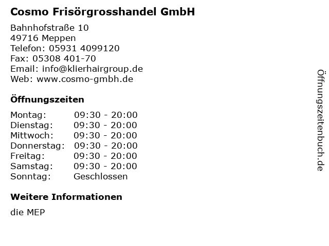 Cosmo Frisörgrosshandel GmbH in Meppen: Adresse und Öffnungszeiten