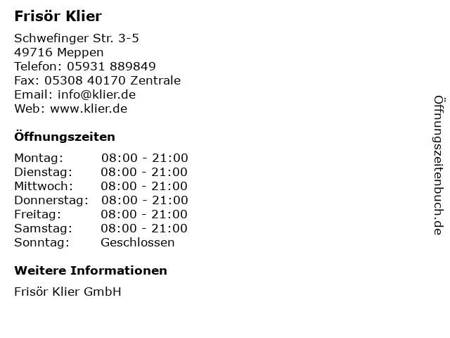 Frisör Klier GmbH in Meppen: Adresse und Öffnungszeiten