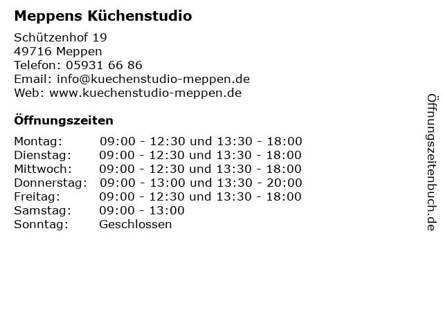 ᐅ Offnungszeiten Meppens Kuchenstudio Schutzenhof 19 In Meppen