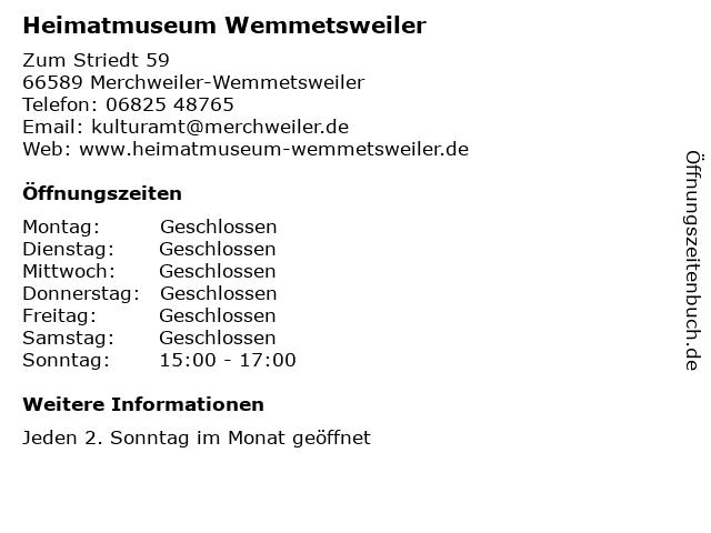 Heimatmuseum Wemmetsweiler in Merchweiler-Wemmetsweiler: Adresse und Öffnungszeiten