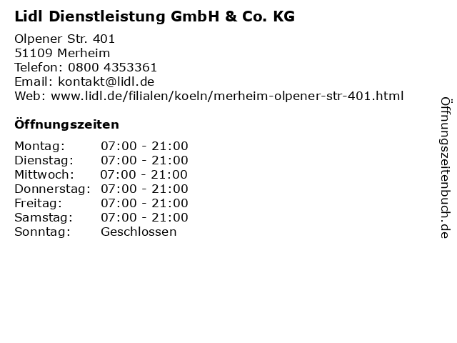 Lidl Dienstleistung GmbH & Co. KG in Merheim: Adresse und Öffnungszeiten