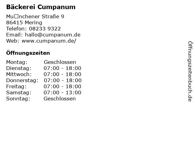 Bäckerei Cumpanum in Mering: Adresse und Öffnungszeiten