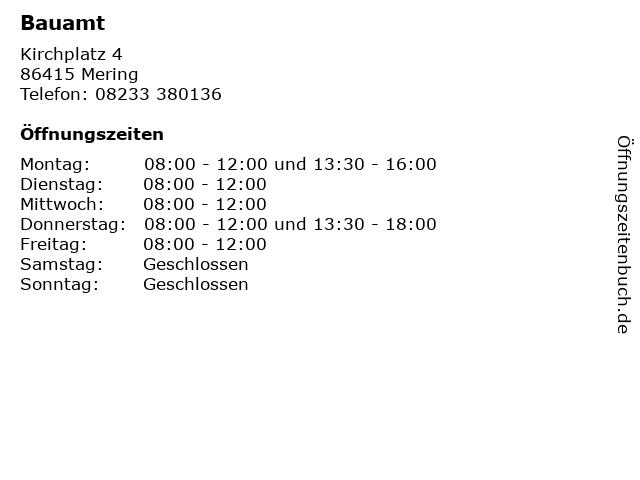 Bauamt in Mering: Adresse und Öffnungszeiten