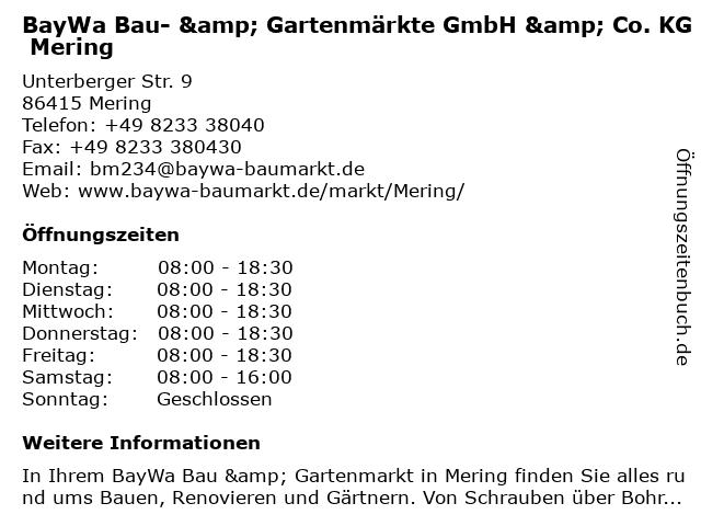 BayWa Bau- & Gartenmärkte GmbH & Co. KG Mering in Mering: Adresse und Öffnungszeiten