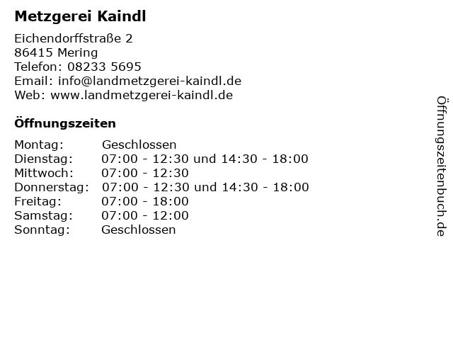 Metzgerei Kaindl in Mering: Adresse und Öffnungszeiten