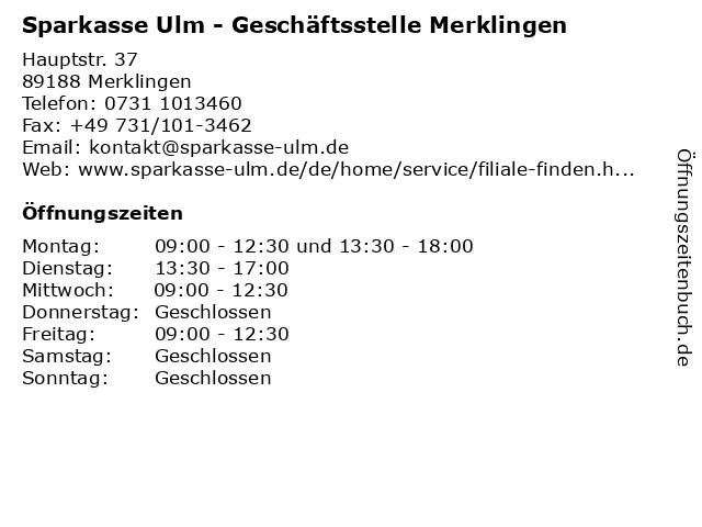 ᐅ öffnungszeiten Sparkasse Ulm Geschäftsstelle Merklingen