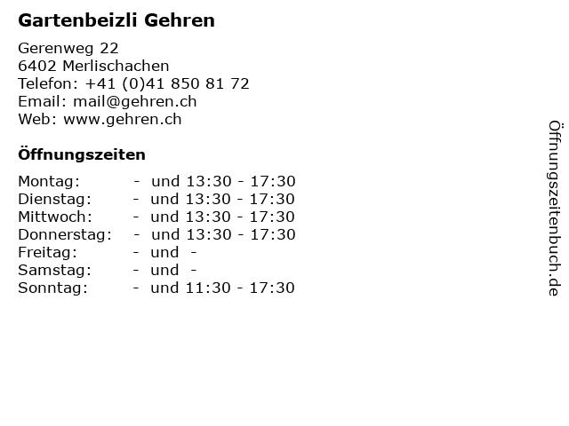 Gartenbeizli Gehren in Merlischachen: Adresse und Öffnungszeiten