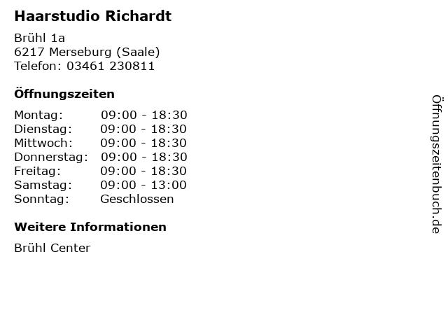 Haarstudio Richardt in Merseburg (Saale): Adresse und Öffnungszeiten