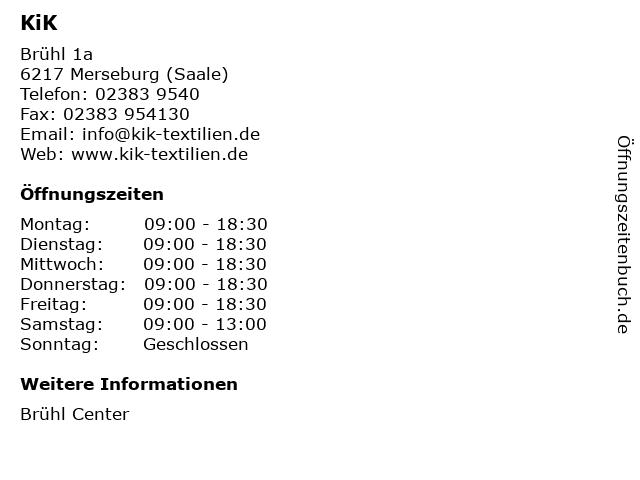 KiK Textilien & Non-Food GmbH in Merseburg (Saale): Adresse und Öffnungszeiten