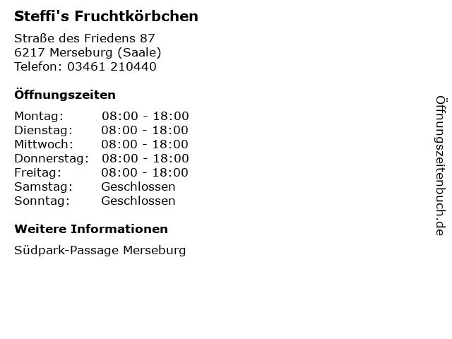Steffi's Fruchtkörbchen in Merseburg (Saale): Adresse und Öffnungszeiten