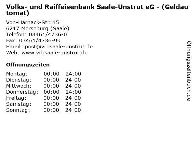 Volks- und Raiffeisenbank Saale-Unstrut eG - (Geldautomat) in Merseburg (Saale): Adresse und Öffnungszeiten
