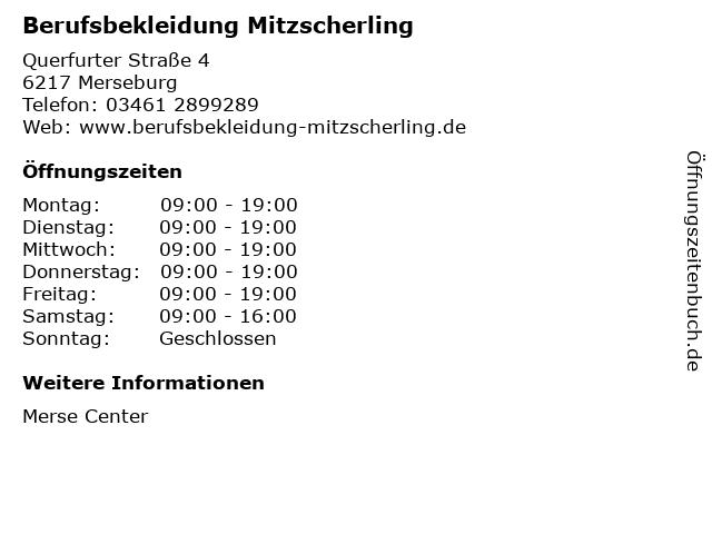 Berufsbekleidung Mitzscherling in Merseburg: Adresse und Öffnungszeiten