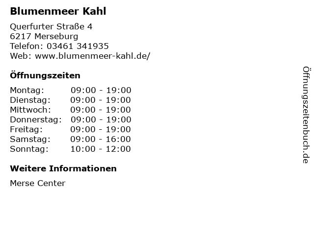 Blumenmeer Kahl in Merseburg: Adresse und Öffnungszeiten