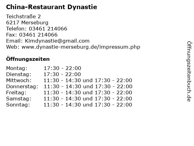 China-Restaurant Dynastie in Merseburg: Adresse und Öffnungszeiten