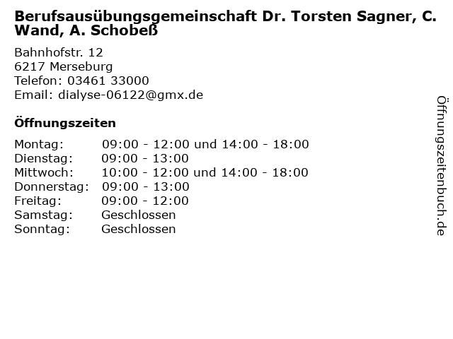 Clemens Wand Facharzt für Innere Medizin und Nephrologie in Merseburg: Adresse und Öffnungszeiten