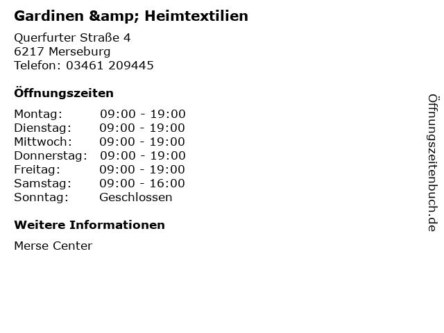 Gardinen & Heimtextilien in Merseburg: Adresse und Öffnungszeiten