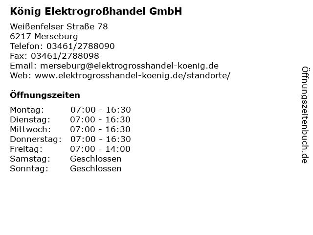 König Elektrogroßhandel GmbH in Merseburg: Adresse und Öffnungszeiten