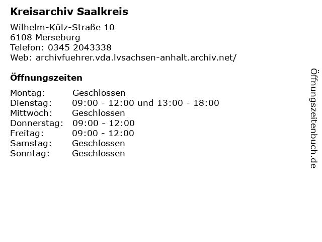 Kreisarchiv Saalkreis in Merseburg: Adresse und Öffnungszeiten