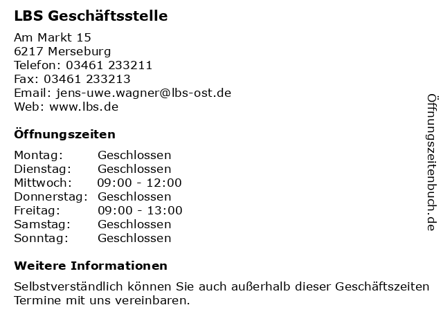LBS Geschäftsstelle in Merseburg: Adresse und Öffnungszeiten