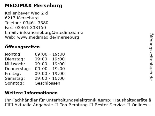MEDIMAX Electronic Objekt Merseburg GmbH in Merseburg: Adresse und Öffnungszeiten