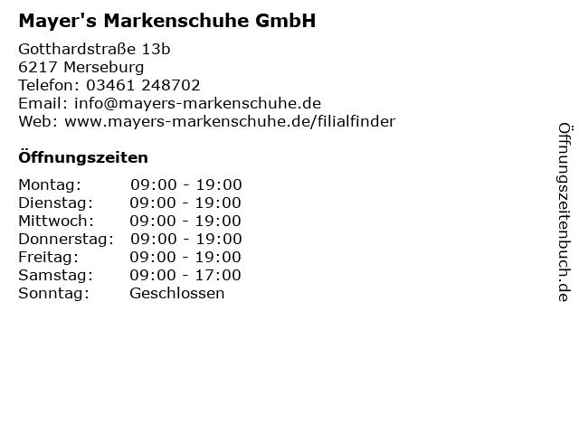 Mayer's Markenschuhe GmbH in Merseburg: Adresse und Öffnungszeiten