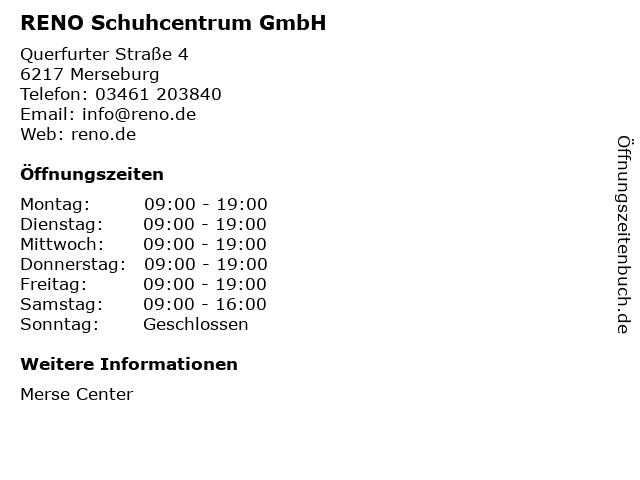 RENO Schuhcentrum GmbH in Merseburg: Adresse und Öffnungszeiten