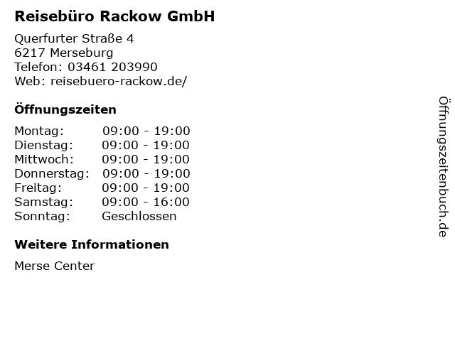 Reisebüro Rackow GmbH in Merseburg: Adresse und Öffnungszeiten