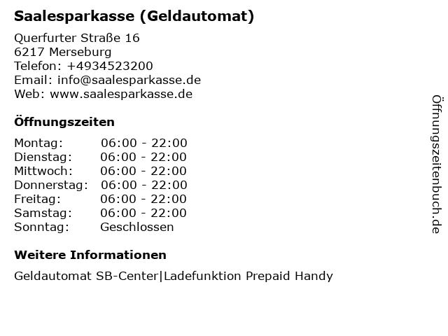 Saalesparkasse - (Geldautomat Kaufland) in Merseburg: Adresse und Öffnungszeiten