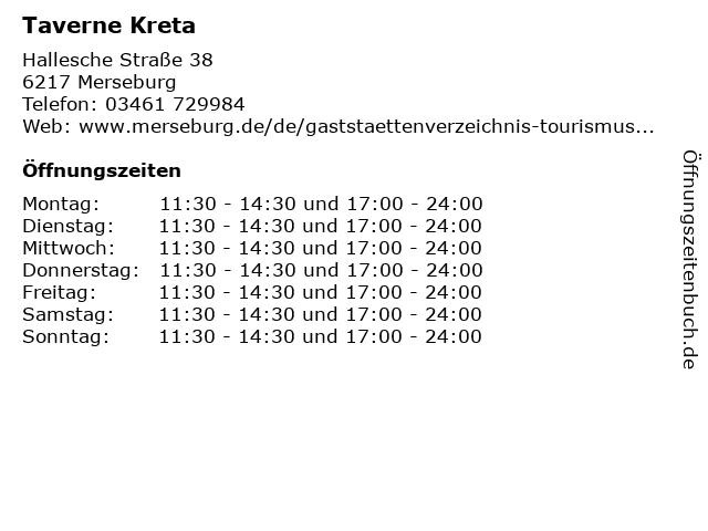 Taverne Kreta in Merseburg: Adresse und Öffnungszeiten