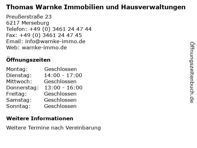 Thomas Warnke Immobilien und Hausverwaltungen in Merseburg: Adresse und Öffnungszeiten