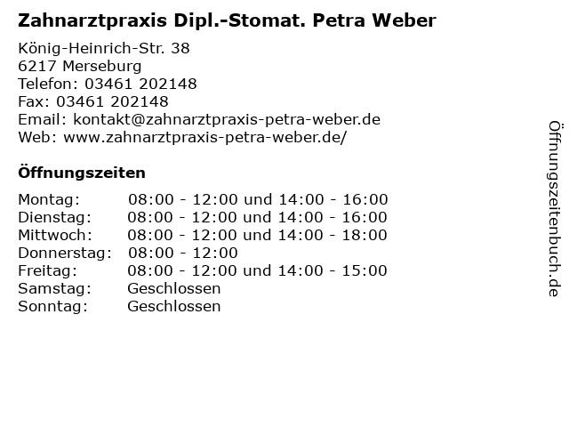 Dipl.Stom. Petra Weber in Merseburg: Adresse und Öffnungszeiten