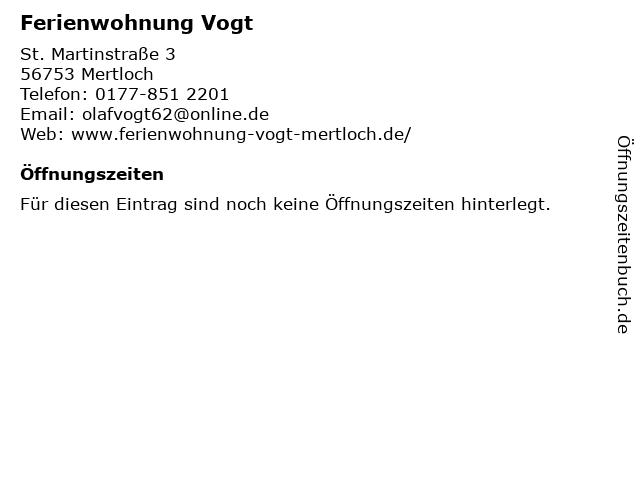 Ferienwohnung Vogt in Mertloch: Adresse und Öffnungszeiten