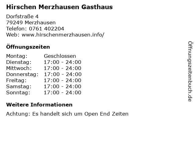 Hirschen Merzhausen Gasthaus in Merzhausen: Adresse und Öffnungszeiten