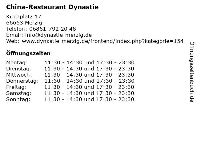 China-Restaurant Dynastie in Merzig: Adresse und Öffnungszeiten