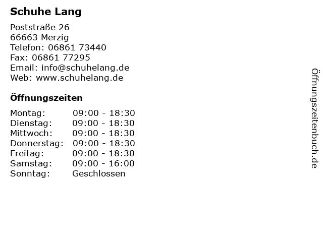 Schuhe Lang in Merzig: Adresse und Öffnungszeiten