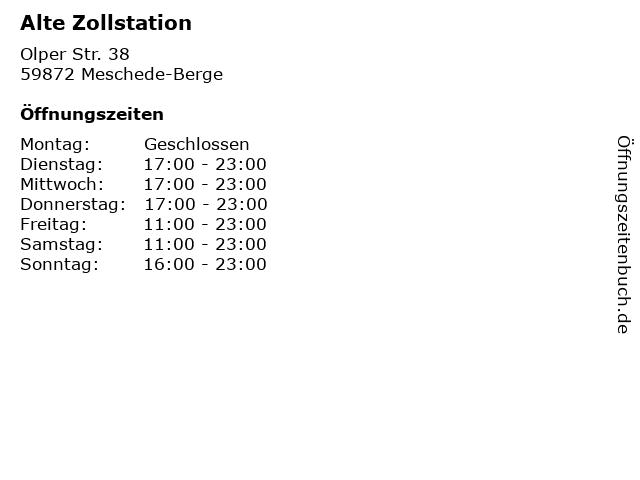 Alte Zollstation in Meschede-Berge: Adresse und Öffnungszeiten