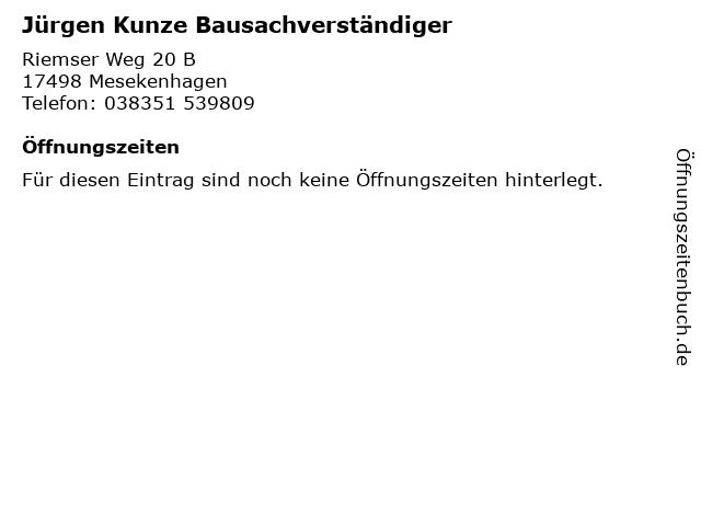 Jürgen Kunze Bausachverständiger in Mesekenhagen: Adresse und Öffnungszeiten