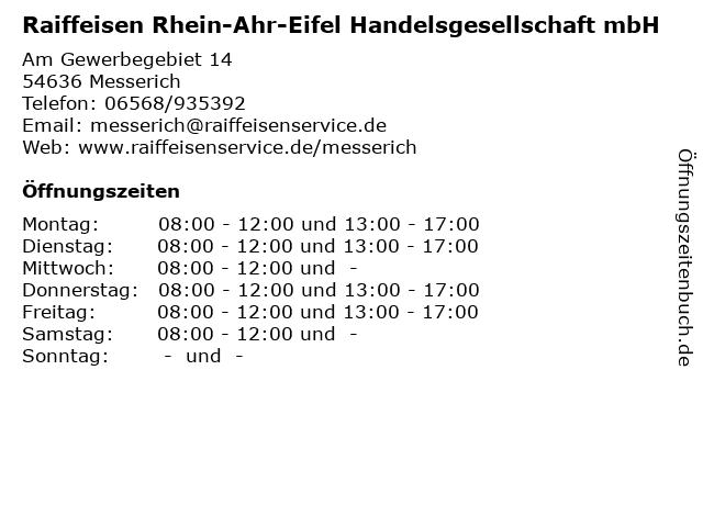 Raiffeisen Rhein-Ahr-Eifel Handelsgesellschaft mbH in Messerich: Adresse und Öffnungszeiten