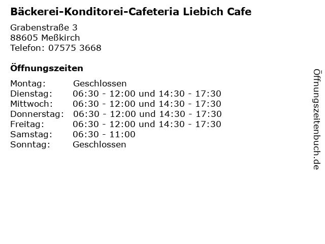 Bäckerei-Konditorei-Cafeteria Liebich Cafe in Meßkirch: Adresse und Öffnungszeiten