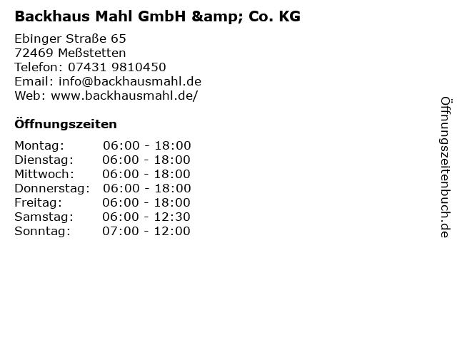 Backhaus Mahl GmbH & Co. KG in Meßstetten: Adresse und Öffnungszeiten