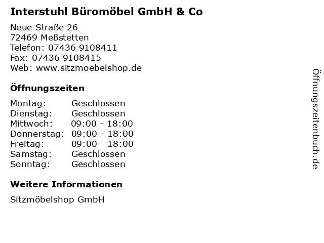 Interstuhl Büromöbel GmbH & Co in Meßstetten: Adresse und Öffnungszeiten