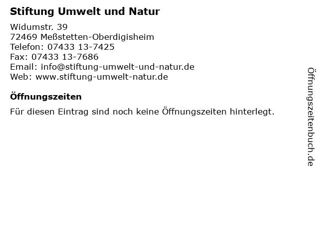 Stiftung Umwelt und Natur in Meßstetten-Oberdigisheim: Adresse und Öffnungszeiten