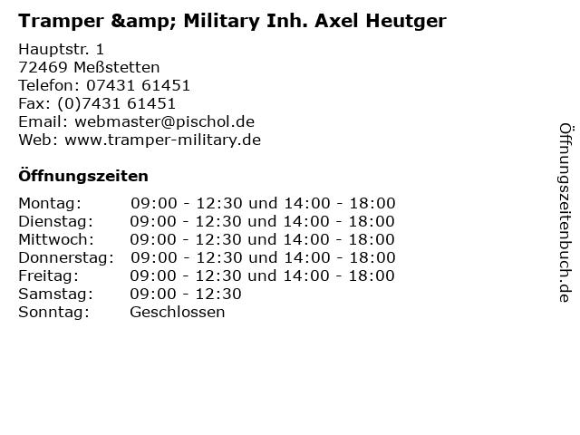 Tramper & Military Inh. Axel Heutger in Meßstetten: Adresse und Öffnungszeiten
