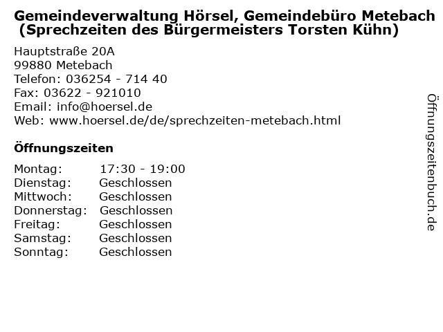 Gemeindeverwaltung Hörsel, Gemeindebüro Metebach (Sprechzeiten des Bürgermeisters Torsten Kühn) in Metebach: Adresse und Öffnungszeiten