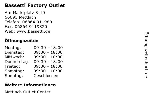 Bassetti Factory Outlet in Mettlach: Adresse und Öffnungszeiten