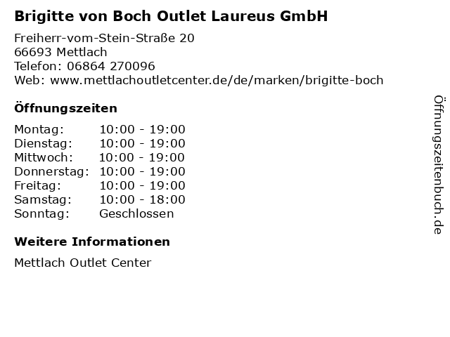 Brigitte von Boch Outlet Laureus GmbH in Mettlach: Adresse und Öffnungszeiten