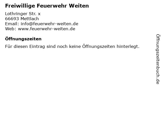 Freiwillige Feuerwehr Weiten in Mettlach: Adresse und Öffnungszeiten