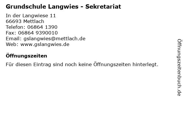 Grundschule Langwies - Sekretariat in Mettlach: Adresse und Öffnungszeiten
