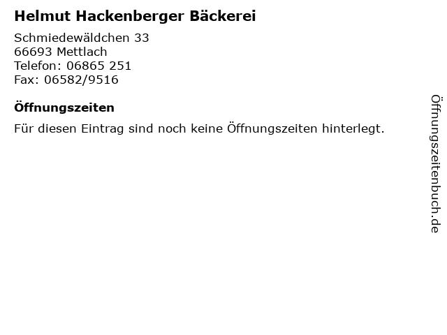 Helmut Hackenberger Bäckerei in Mettlach: Adresse und Öffnungszeiten