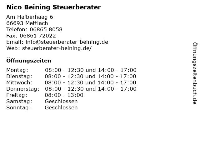 Nico Beining Steuerberater in Mettlach: Adresse und Öffnungszeiten